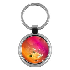 Beautiful Roses With Dragonflies Key Chains (Round)