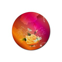 Beautiful Roses With Dragonflies Rubber Round Coaster (4 pack)