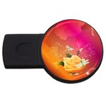 Beautiful Roses With Dragonflies USB Flash Drive Round (4 GB)  Front