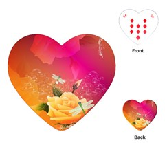 Beautiful Roses With Dragonflies Playing Cards (Heart)