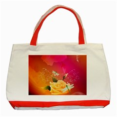 Beautiful Roses With Dragonflies Classic Tote Bag (red)