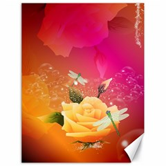 Beautiful Roses With Dragonflies Canvas 18  X 24