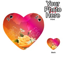 Beautiful Roses With Dragonflies Playing Cards 54 (Heart)
