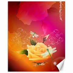 Beautiful Roses With Dragonflies Canvas 11  x 14