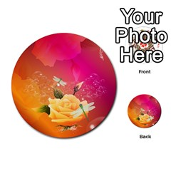 Beautiful Roses With Dragonflies Multi Purpose Cards (round)