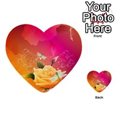 Beautiful Roses With Dragonflies Multi-purpose Cards (Heart)