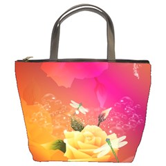 Beautiful Roses With Dragonflies Bucket Bags