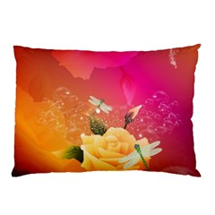 Beautiful Roses With Dragonflies Pillow Cases