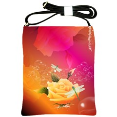 Beautiful Roses With Dragonflies Shoulder Sling Bags