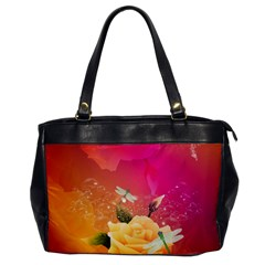 Beautiful Roses With Dragonflies Office Handbags