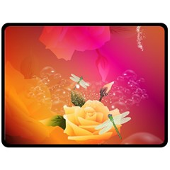 Beautiful Roses With Dragonflies Fleece Blanket (Large)