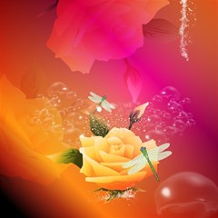 Beautiful Roses With Dragonflies Magic Photo Cubes