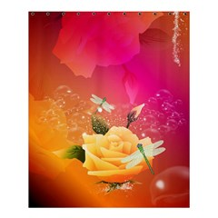 Beautiful Roses With Dragonflies Shower Curtain 60  x 72  (Medium)