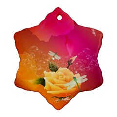 Beautiful Roses With Dragonflies Ornament (Snowflake)