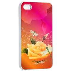Beautiful Roses With Dragonflies Apple Iphone 4/4s Seamless Case (white)