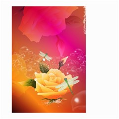 Beautiful Roses With Dragonflies Small Garden Flag (Two Sides)