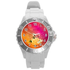 Beautiful Roses With Dragonflies Round Plastic Sport Watch (L)