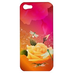 Beautiful Roses With Dragonflies Apple iPhone 5 Hardshell Case
