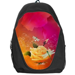 Beautiful Roses With Dragonflies Backpack Bag