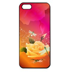 Beautiful Roses With Dragonflies Apple iPhone 5 Seamless Case (Black)