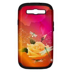 Beautiful Roses With Dragonflies Samsung Galaxy S III Hardshell Case (PC+Silicone)
