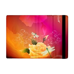Beautiful Roses With Dragonflies Apple iPad Mini Flip Case