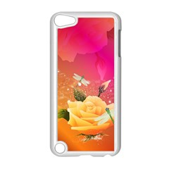 Beautiful Roses With Dragonflies Apple iPod Touch 5 Case (White)