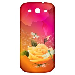 Beautiful Roses With Dragonflies Samsung Galaxy S3 S III Classic Hardshell Back Case