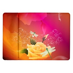 Beautiful Roses With Dragonflies Samsung Galaxy Tab 10.1  P7500 Flip Case