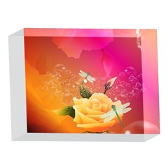 Beautiful Roses With Dragonflies 5 x 7  Acrylic Photo Blocks