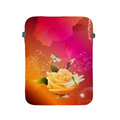 Beautiful Roses With Dragonflies Apple iPad 2/3/4 Protective Soft Cases