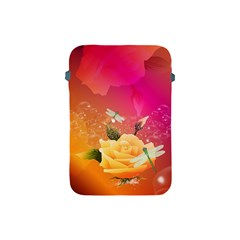 Beautiful Roses With Dragonflies Apple iPad Mini Protective Soft Cases