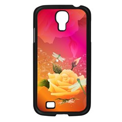 Beautiful Roses With Dragonflies Samsung Galaxy S4 I9500/ I9505 Case (Black)