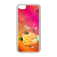 Beautiful Roses With Dragonflies Apple iPhone 5C Seamless Case (White)