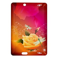 Beautiful Roses With Dragonflies Kindle Fire HD (2013) Hardshell Case