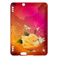 Beautiful Roses With Dragonflies Kindle Fire HDX Hardshell Case