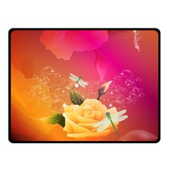 Beautiful Roses With Dragonflies Double Sided Fleece Blanket (Small)