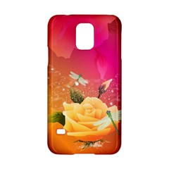 Beautiful Roses With Dragonflies Samsung Galaxy S5 Hardshell Case