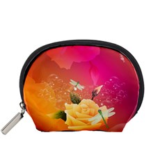 Beautiful Roses With Dragonflies Accessory Pouches (Small)