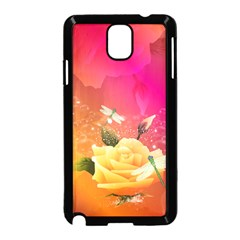 Beautiful Roses With Dragonflies Samsung Galaxy Note 3 Neo Hardshell Case (Black)