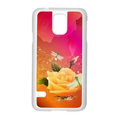 Beautiful Roses With Dragonflies Samsung Galaxy S5 Case (White)