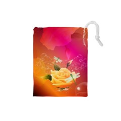 Beautiful Roses With Dragonflies Drawstring Pouches (Small)