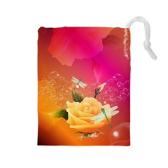 Beautiful Roses With Dragonflies Drawstring Pouches (Large)