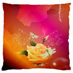 Beautiful Roses With Dragonflies Standard Flano Cushion Cases (One Side)