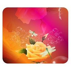 Beautiful Roses With Dragonflies Double Sided Flano Blanket (Small)