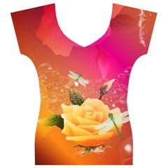 Beautiful Roses With Dragonflies Women s V-Neck Cap Sleeve Top
