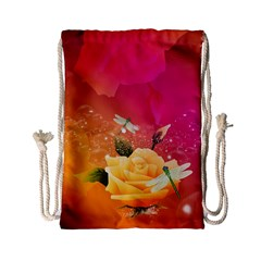 Beautiful Roses With Dragonflies Drawstring Bag (Small)