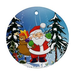Funny Santa Claus In The Forrest Ornament (Round)
