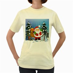 Funny Santa Claus In The Forrest Women s Yellow T Shirt