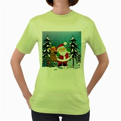 Funny Santa Claus In The Forrest Women s Green T Shirt